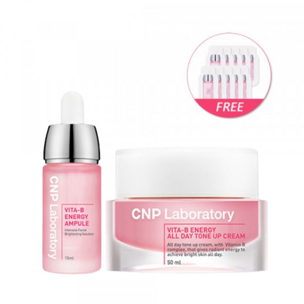 [CNP LABORATORY] Vita B Energy Ampule 15ml + All Day Tone Up Cream 50ml (Free Random Samples 10pcs)