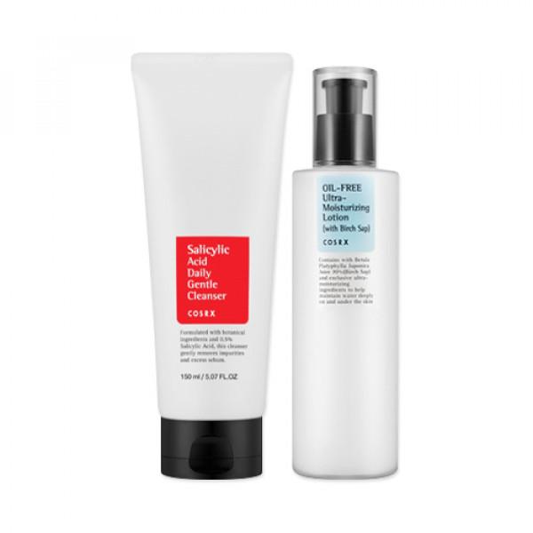 [COSRX] Salicylic Acid Daily Gentle Cleanser 150ml + Oil Free Ultra Moisturizing Lotion 100ml