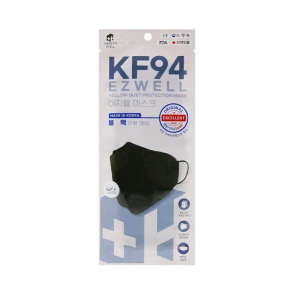 [HEALTHWELL] Ezwell Yellow Dust Protection Mask KF94 Black (Large Size) - 20pcs