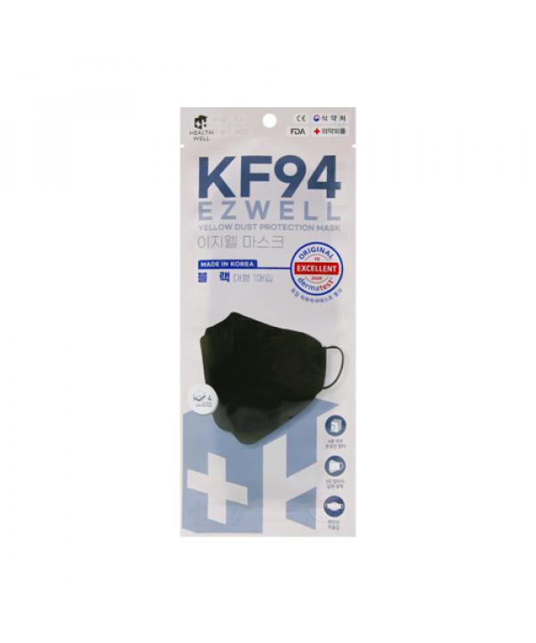 [HEALTHWELL] Ezwell Yellow Dust Protection Mask KF94 Black (Large Size) - 40pcs