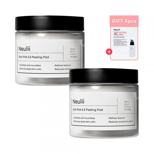 [Neulii] 1+1 BHA PHA 5.5 Peeling Pad (2021) - 1pack (70pcs) (Free Random Samples 5pcs)