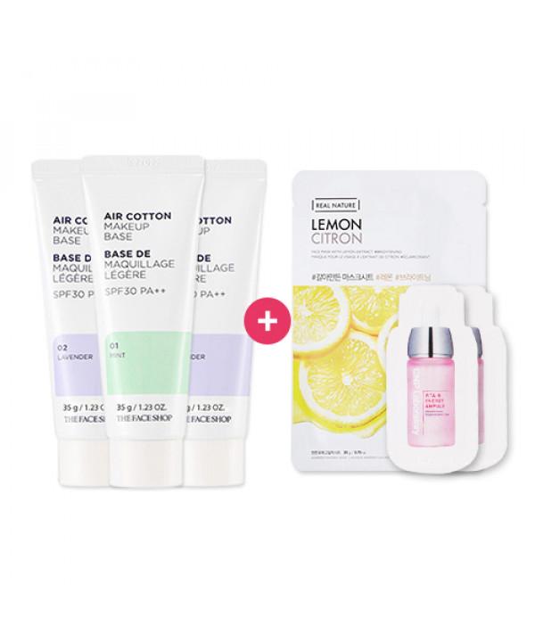 [THE FACE SHOP] 2+1 Air Cotton Make Up Base - 35g (SPF30 PA++) + Gift (Mask Sheet, Samples)