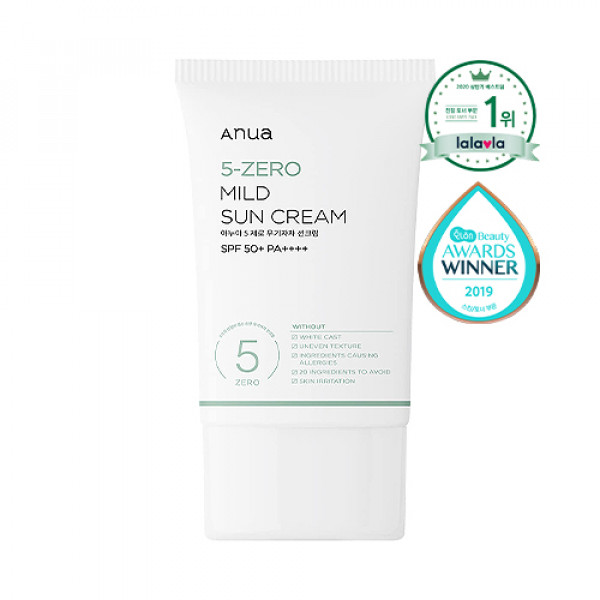 [ANUA] 5 Zero Mild Sun Cream - 50ml (SPF50+ PA++++)