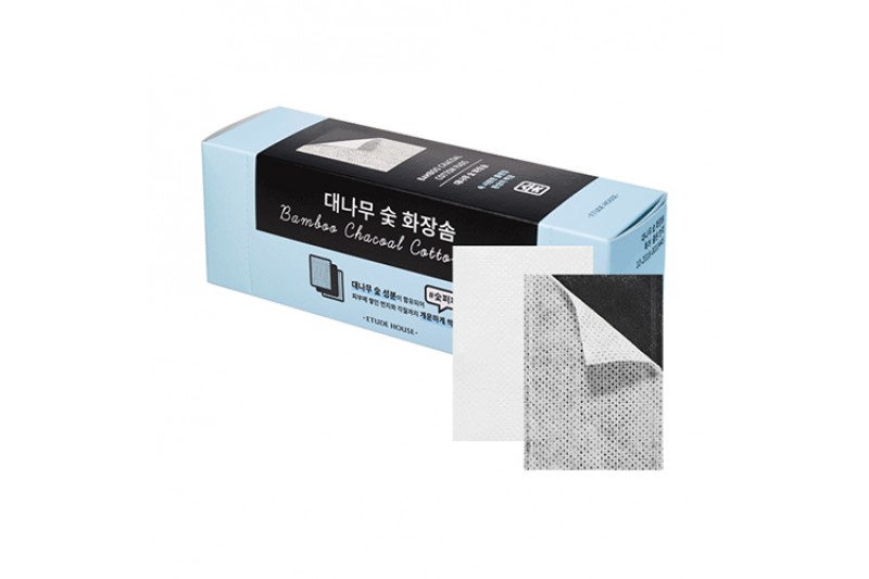 [ETUDE HOUSE] Bamboo Charcoal Cotton Pads - 1pack (60pcs)