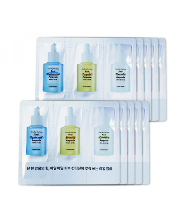 [ETUDE HOUSE_Sample] One Day One Drop Real Ampoule Samples - 10pcs No.Centella No.Propolis No.Hyaluronic