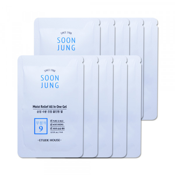 [ETUDE HOUSE_Sample] Soonjung Moist Relief All In One Gel Samples - 10pcs