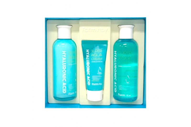[FARM STAY] Hyaluronic Acid Super Aqua Skin Care 3 Set - 1pack (3items)