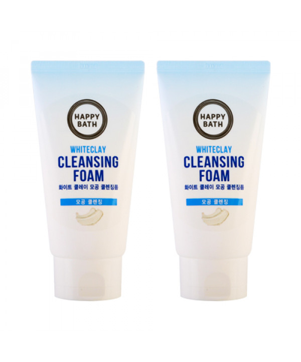W-[HAPPY BATH] 1+1 White Clay Pore Cleansing Foam - 150g x 10ea