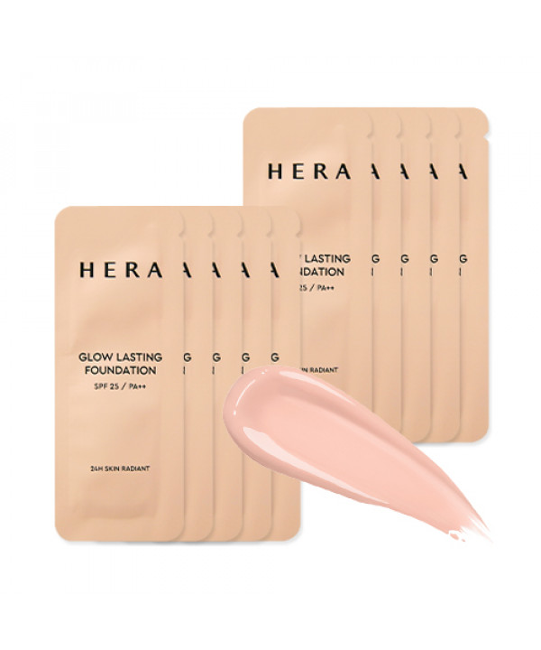 [HERA_Sample] Glow Lasting Foundation Samples - 10pcs (SPF25 PA++) No.21C1 Rose Vanilla