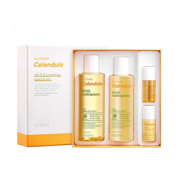 W-[MISSHA] Sunhada Calendula pH 5.5 Soothing Special Set - 1pack (4items) x 10ea