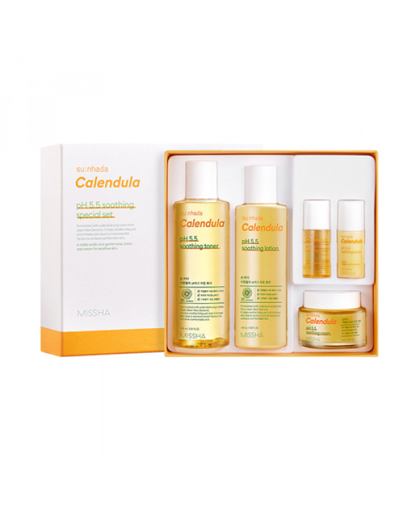W-[MISSHA] Sunhada Calendula pH5.5 Soothing 3 Step Special Set - 1pack (5items) x 10ea