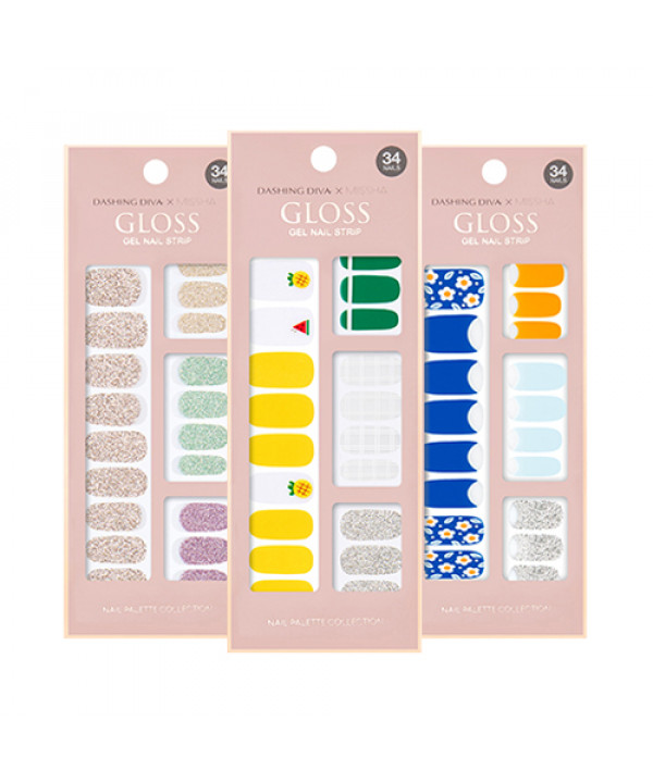 [MISSHA] Dashing Diva Gloss Gel Nail Strip - 1pack (2pcs+Nail File)