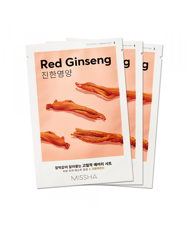 [MISSHA_Sample] Airy Fit Sheet Mask Samples - 3pcs No.Red Ginseng