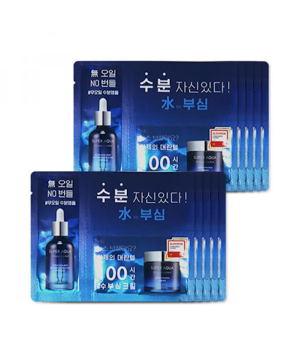 [MISSHA_Sample] Super Aqua Ultra Hyalron Oil Free Hydrating Ampoule & Cream Samples - 10pcs