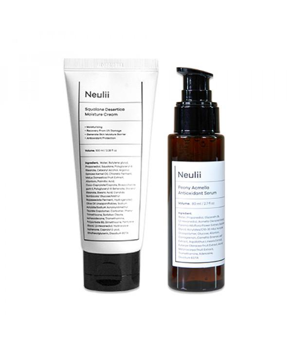 [Neulii] Squalane Desertica Moisture Cream - 100ml + Peony Acmella Antioxidant Serum - 80ml