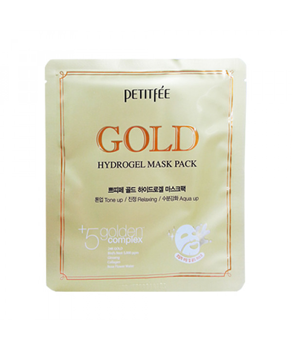 [PETITFEE] Hydrogel Mask Pack - 1pack (5pcs) #Gold