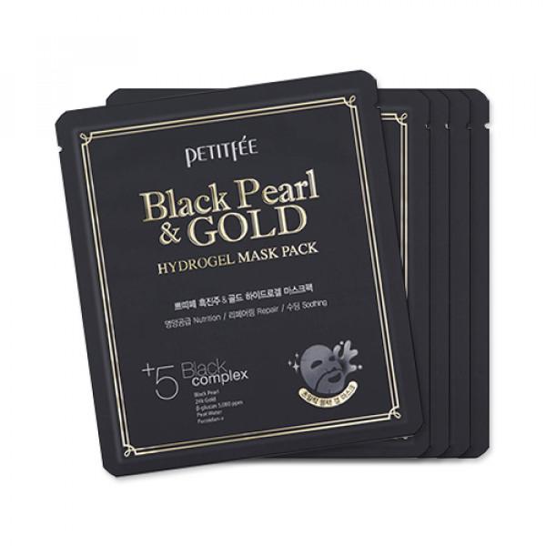 [PETITFEE] Hydrogel Mask Pack - 1pack (5pcs) #Black Pearl & Gold