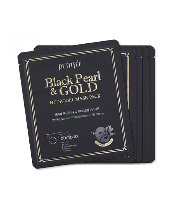 [PETITFEE] Hydrogel Mask Pack - 1pack (5pcs) #Black Pearl & Gold