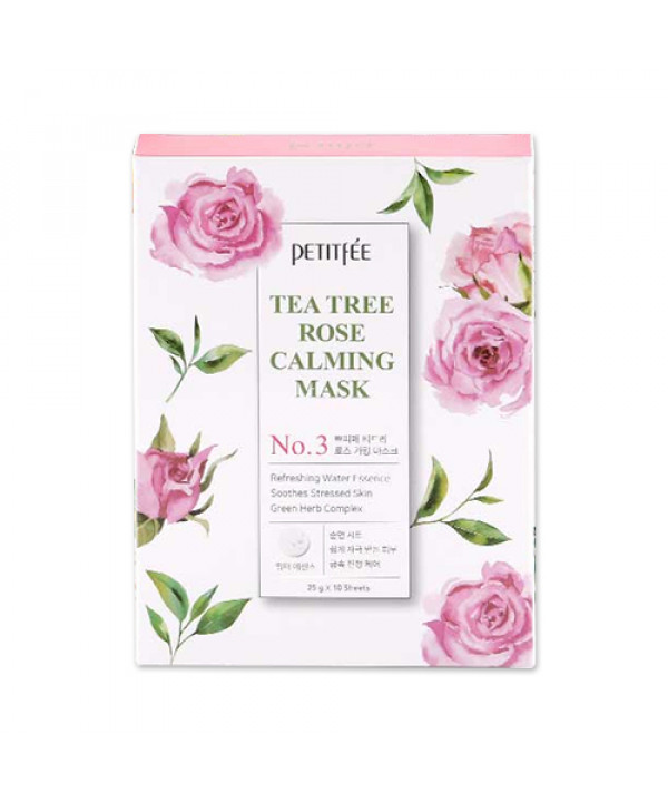 [PETITFEE] Tea Tree Rose Calming Mask - 1pack (10pcs)
