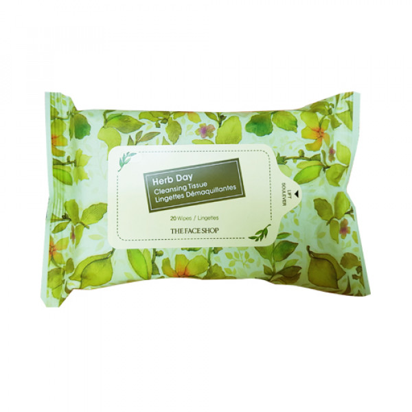 [THE FACE SHOP] Herb Day Cleansing Tissue - 1pack (20pcs)