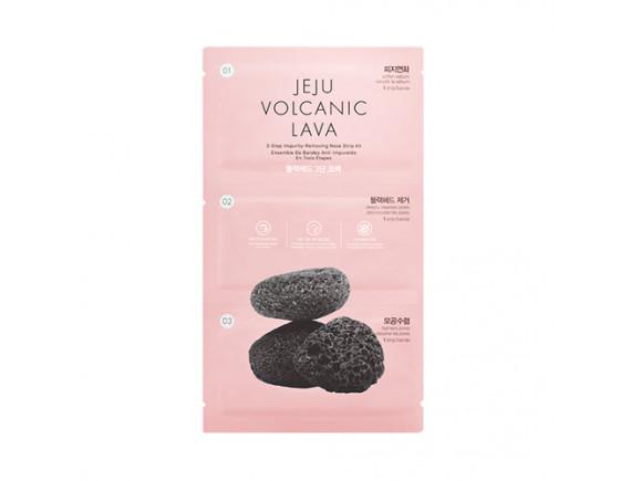 [THE FACE SHOP] Jeju Volcanic Lava 3 Step Impurity Removing Nose Strip Kit - 3pcs