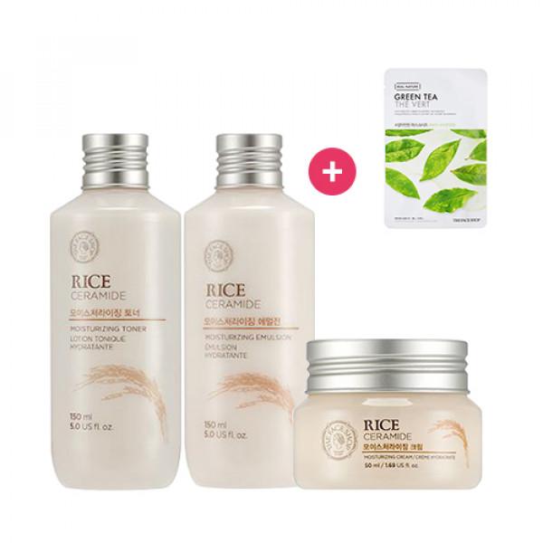 [THE FACE SHOP] Rice & Ceramide Moisturizing Line Set + Free Gift (Mask Sheet)