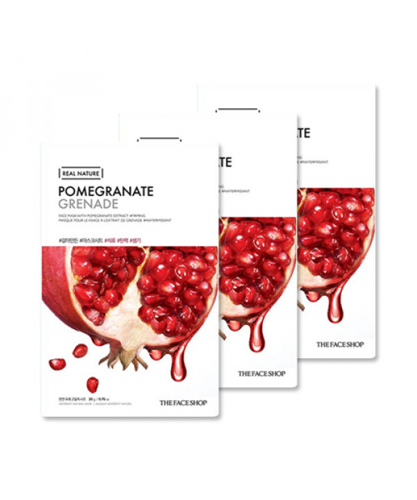 [THE FACE SHOP_Sample] Real Nature Pomegranate Face Mask Samples - 3pcs