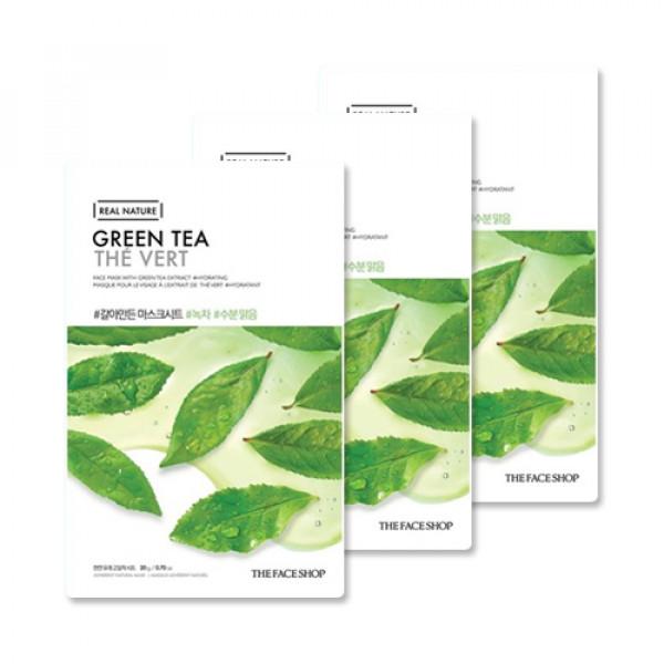 [THE FACE SHOP_Sample] Real Nature Green Tea Face Mask Samples - 3pcs