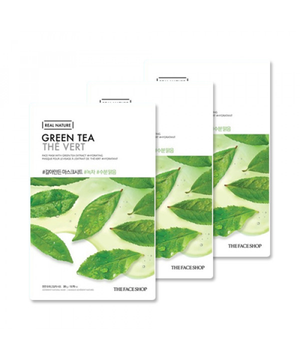 [THE FACE SHOP_Sample] Real Nature Green Tea Face Mask Samples - 3pcs