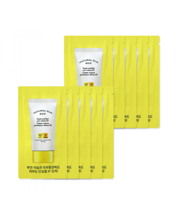 [THE FACE SHOP_Sample] Natural Sun Eco Super Perfect Sun Cream EX Samples - 10pcs (SPF50+ PA++++)