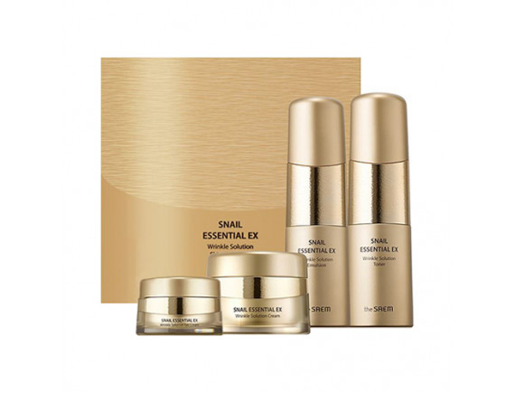 [THESAEM] Snail Essential EX Wrinkle Solution Skin Care 3 Set (2020) - 1pack (4items)