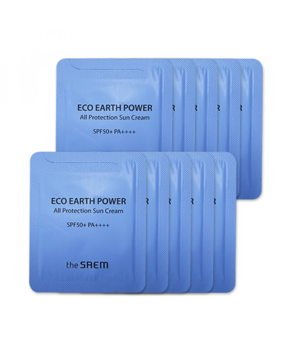 [THESAEM_Sample] Eco Earth Power All Protection Sun Cream Samples - 10pcs (SPF50+ PA++++)