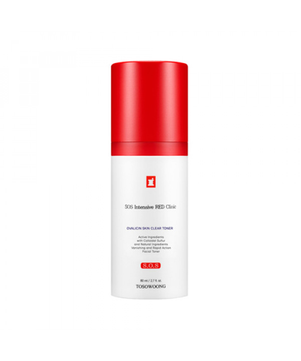 [TOSOWOONG_LIMITED] SOS Intensive Red Clinic Ovalicin Skin Clear Toner - 80ml (EXP 2021.06.03)