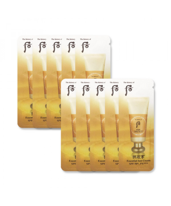 [THE WHOO_Sample] Gongjinhyang Essential Sun Cream Samples - 10pcs (SPF50+ PA+++)